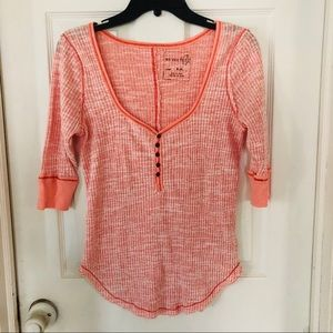 We the free peach button front top